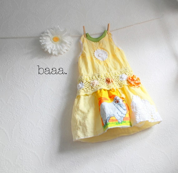 Yellow Linen Toddler Dress 5T Shabby Chic Girl's Clothing Vintage Fabric Upcycled Jumper Sheep White Lace Children's Clothes 'EMMALEE'