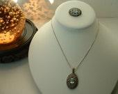 Vintage Marcasite & Aquamarine Faceted Stone Crystal Necklace  Pin SET Filligree Setiing