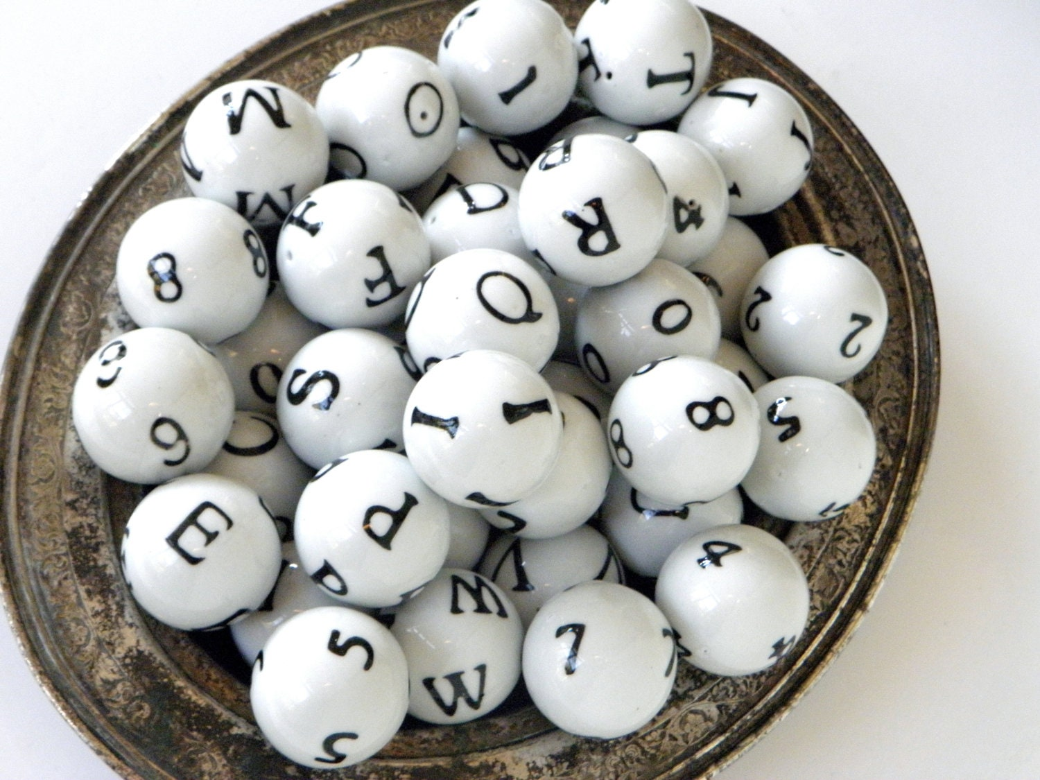 Porcelain decorative balls with numbers and letters set of