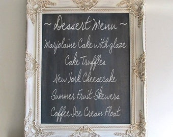 CHALKBOARD Old World Wedding Sign Framed Chalk Board Vintage Wedding Decor Vintage Distressed Ornate Shabby Chic Wedding Menu - MORE COLORS