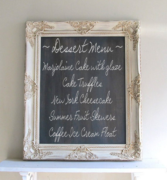 CHALKBOARD Wedding Sign Framed Chalk Board Vintage Wedding Decor Old World Rustic Ornate Cream Kitchen French Country - MORE COLORS
