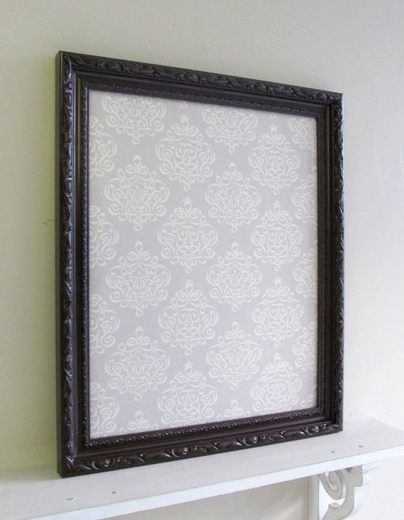 Items Similar To Framed Magnet Board Wall Decor Brown Grey