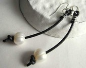 Pearl Earrings Knotted Black Leather Handcrafted Jewellery Modern Long Earrings with Sterling Silver