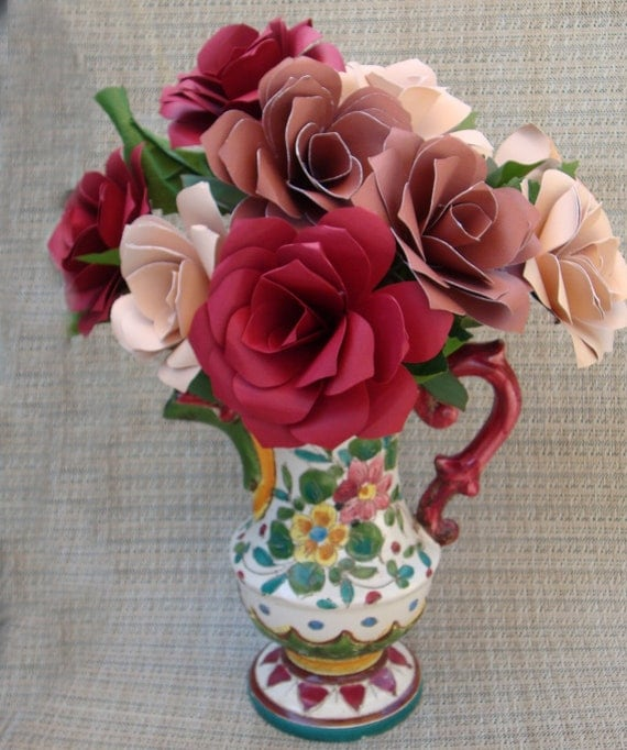 Paper Flower arrangement in a  Colorful Vintage Italian Maybe Majolica Pottery First Annivesary house warming