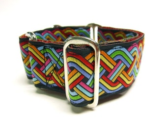 """Houndstown 1.5"""" Rainbow Weave Unlined Martingale Collar Size Small, Medium, or Large"""