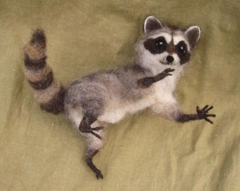 Made to Order Needle Felted Raccoon, pose-able woodland felted animal