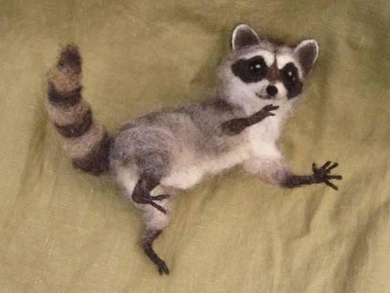 Needle felted raccoon, pose-able woodland animal