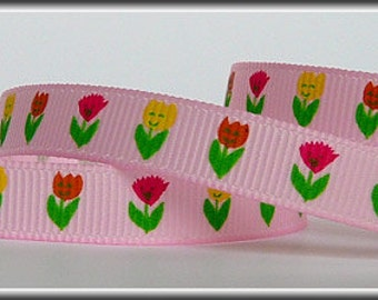 5 Yards TULIPS on Pink 3/8 Grosgrain Ribbon