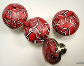 6 Polymer Clay Cabinet Knobs Pulls  12 Available    Red with White