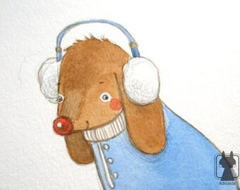 Winter dog illustration - dachshund watercolor art - original watercolor painting