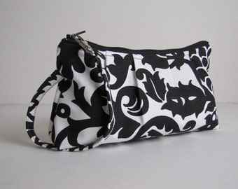 Wristlet Clutch Zipper Pouch, Bridesmaid Gift, Bridesmaid Clutch, Gift For Her -Amsterdam Damask Black