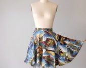 Vintage Circle Skirt / 1960s Novelty Scenic Travel Print Skirt / World Traveler