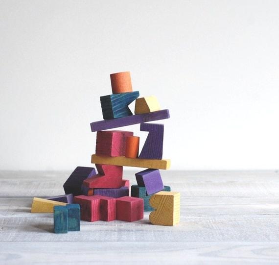 1950s Stacking Block Game / Blockhead / Multi Color Wood Blocks