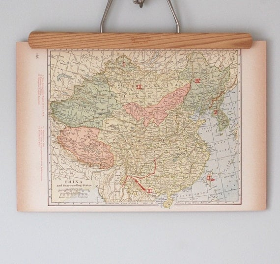 Antique 1940s Maps of China and India