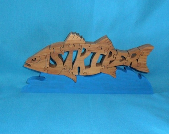 Striper Bass Fish Scroll Saw Wooden Puzzle