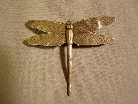 Vintage Sterling Silver Embossed Detailed Dragonfly Pin Brooch 3424