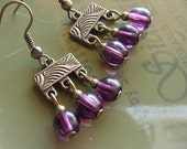 Stephanie  //  Purple Glass /  Antique Brass Finish Earrings