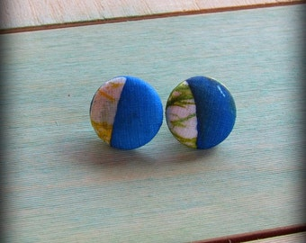 Button Earrings ,Silk Fabric in shades of  Blue, Green, Yellow