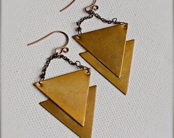 Chandelier Earrings-Tribal Earrings-Unique Antiqued Bronze