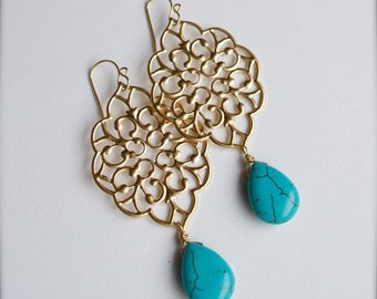 Chandelier Earrings with Turquoise -Bridesmaid Earrings-Bohemian Fashion