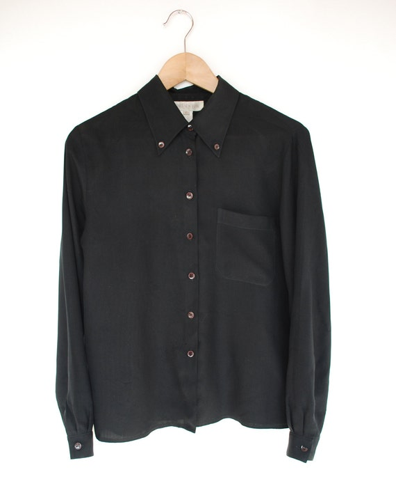90s Black SILK Oxford Blouse with Chest Pocket S-M