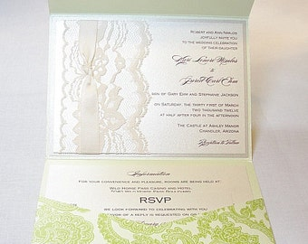 Lace Wedding Invitations, Lace Wedding Invite, Wedding Invitations, Wedding Invite, Floral Invite, Vintage Invitation ANKA - LIME