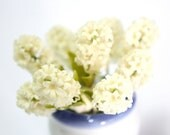 Miniature Polymer Clay Flowers Supplies, White Hyacinth 3 stems