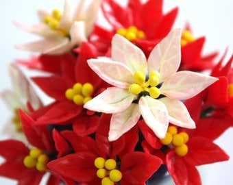 25 Miniature Polymer Clay Flowers Supplies Poinsettia, Red and White-Pink