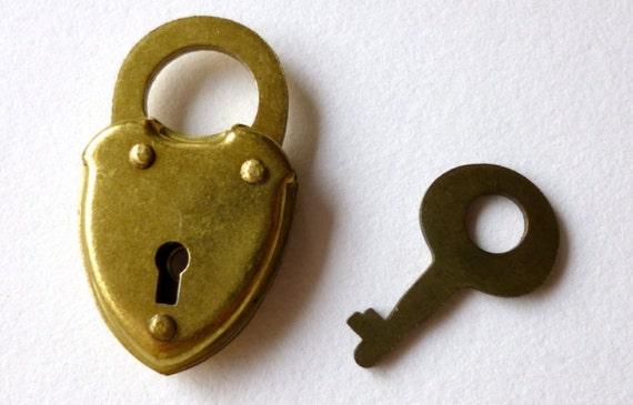 Miniature Lock and Key Brass Padlock Tiny Key 1pc