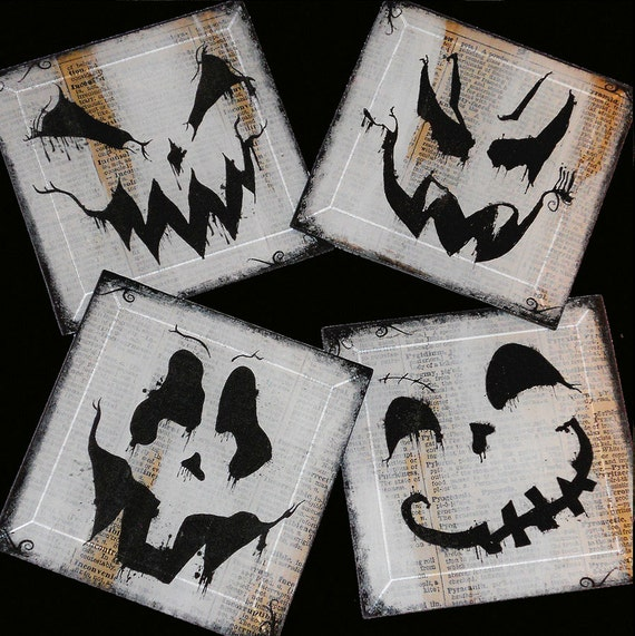 Ghosts N' Ghoulies Halloween Handmade Glass Coaster Set from Upcycled Dictionary page book art - WilD WorDz - BoO