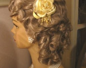 Canary/Pastel Yellow Rose Flower Bridesmaid Hair Fascinator/Clip with Semi-Precious Citrine Chips Dangling Pearls Crystals Ribbons