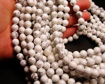 White Howlite turquoise - 10 mm round beads -1 full strand - 40 beads - RFG242