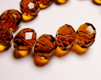 Crystal faceted rondelle -  20 pcs - 12mm by 9mm - AA quality - Dark amber