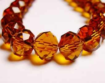 Crystal faceted rondelle -  25 pcs - 10mm by 7mm - AA quality - dark amber