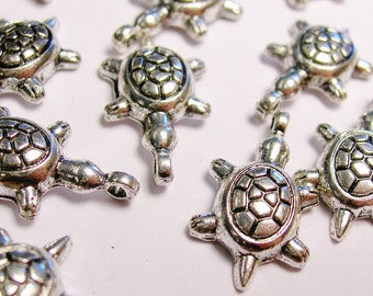 Turtle silver charms hypoallergenic- 20 pcs - ZAS 107