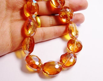 Crystal faceted focal beads oval 8 pcs 24mm by 20mm  AA quality tangereine sparkle