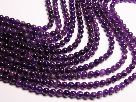 Amethyst 6 mm round - A quality- 1 full strand - 62 beads