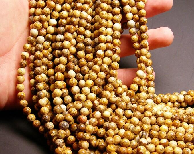 Picture Jasper  6 mm round beads 1 full strand  64 beads - RFG235