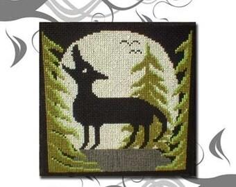 PDF E pattern emailed Wolf Moon Twilight Cross Stitch Pattern Sampler 35