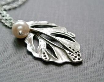 Leaf Necklace, Leaf Necklace Silver, Leaf Pendant Jewelry, Simple Necklace, Silver Leaf Pendant