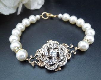 bridal bracelet, bridal pearl rhinestone Bracelet, pearl bracelet, Statement Bracelet, Wedding pearl Bracelet,  swarovski bracelet, ROSELANI