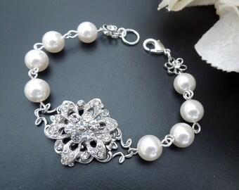 bridal pearl and crystal Bracelet Statement Bridal Bracelet Bridal Cuff Wedding Rhinestone Bracelet ivory swarovski pearl bracelet MEGAN