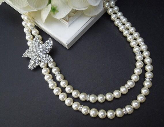 Starfish Bridal Necklace,Pearl Wedding Necklace,Vintage Style Wedding,Ivory Pearl,Rhinestone Starfish Necklace,Beach Wedding,Pearl,ARIEL