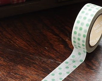 Tape-Washi Tape-Masking Tape-Single Roll-Green polk dots on white