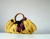 Knitted Women's tote bag, handmade purse, accessories, Knit Handbag, mustard, brown, autumn, winter Bag, christmas gift, plum bow