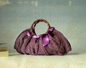 Women's Knit tote bag, handmade bag, accessories, Knitted Handbag, rosybrown, autumn, fall, winter Bag, christmas gift, violet bow
