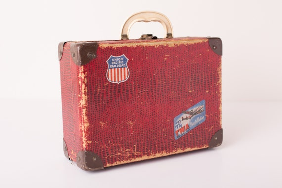 Vintage Excelsior Child's Red Doll Suitcase, Union Pacific Railroad Icon