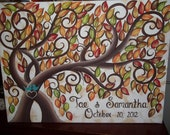 Wedding guest book signature tree....100 painted Fall leaves on 16 x 20 Stretched Canvas