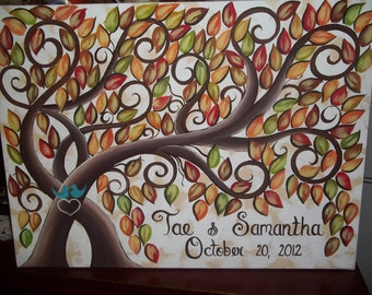 Wedding guest book signature tree....200 - 250 painted Fall leaves on 22 x 28 Stretched Canvas