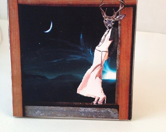 She stared into space  wood panel